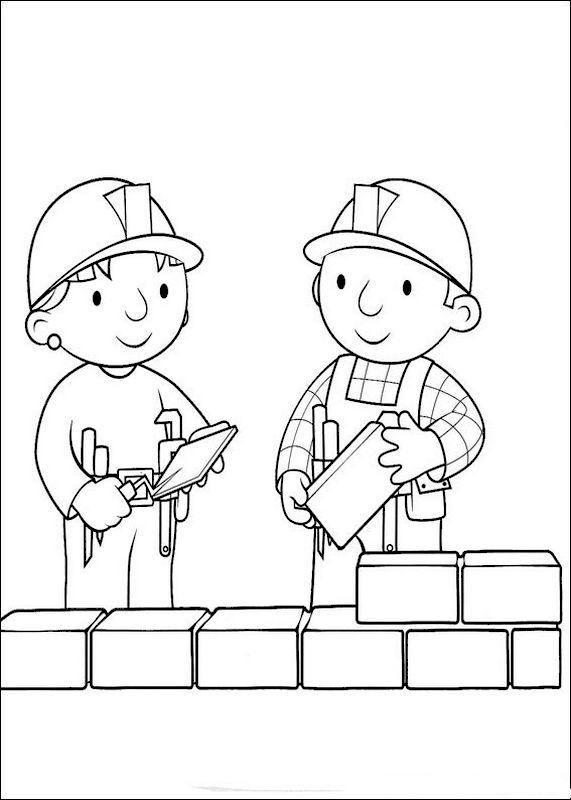 coloriage de bob le bricoleur dessin ils montent un mur de briques colorier. Black Bedroom Furniture Sets. Home Design Ideas