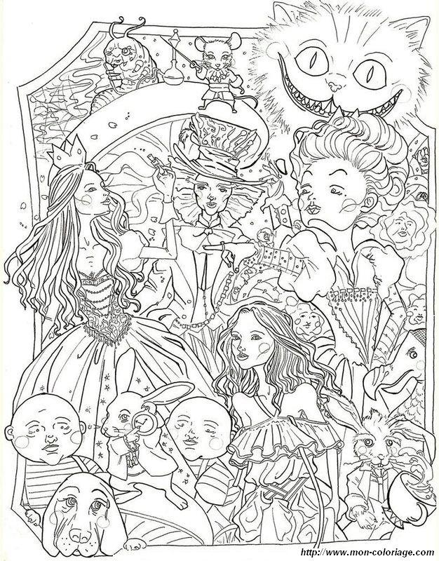 Coloriage De Alice Au Pays Des Merveilles Dessin Coloriage Alice Au Pays Des Merveilles Pour Adultes A Colorier