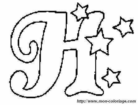 Coloriage de Alphabet de noel, dessin noel en H à colorier