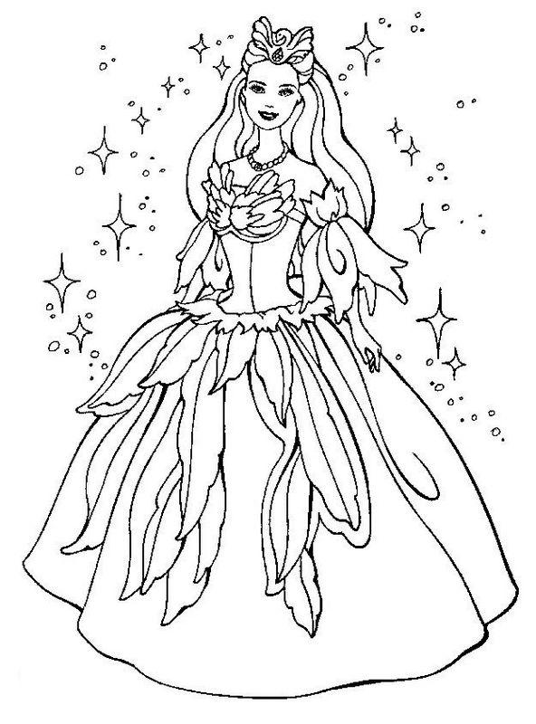 Coloriage de barbie dessin avec une magnifique robe de bal colorier - Coloriage magnifique ...