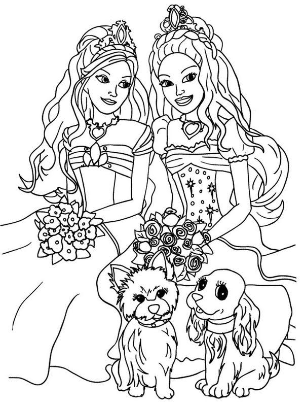 Coloriage De Barbie Dessin Deux Filles Pour Un Beau Mariage à Colorier