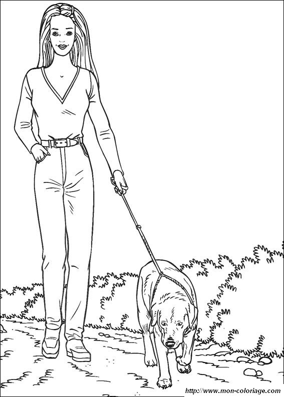 Coloriage de barbie dessin qui promene son chien colorier - Barbie et son chien ...
