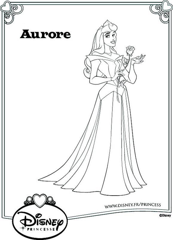 Coloriage de la belle au bois dormant dessin elle porte une jolie robe et une rose colorier - Dessin de la belle au bois dormant ...
