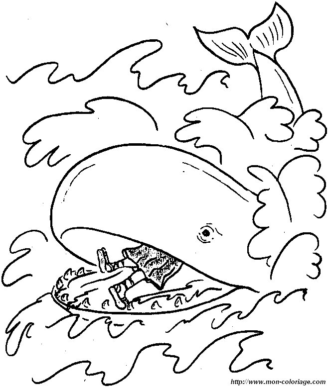 Coloriage de bible dessin jonas baleine colorier for Jonas coloring pages