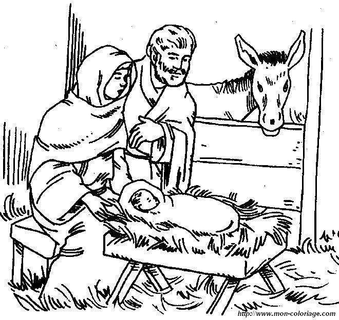 Coloriage de Bible dessin nativite colorier