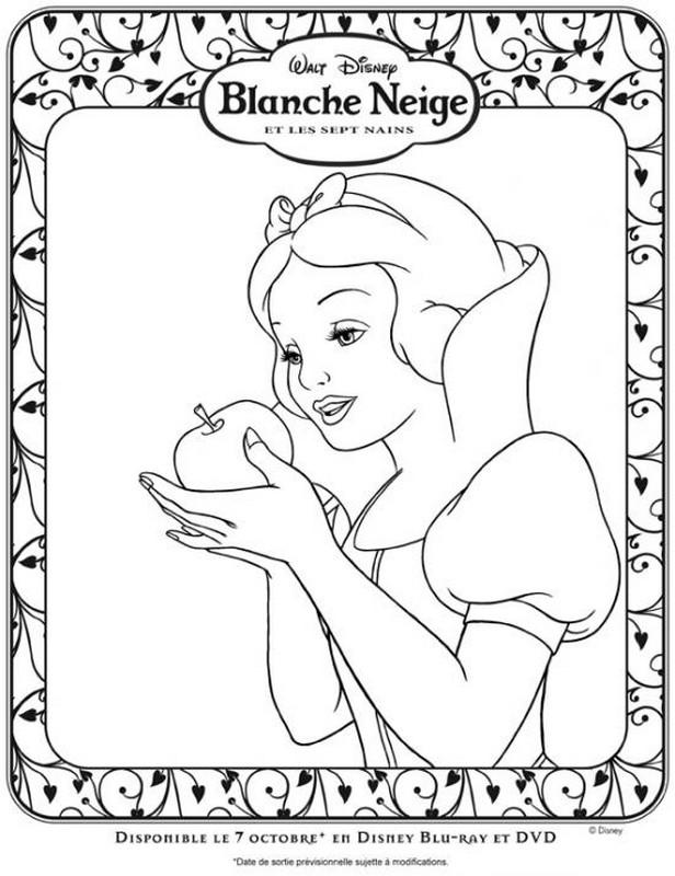Coloriage de blanche neige dessin ne mange pas la pomme - Coloriage blanche neige a imprimer gratuit ...