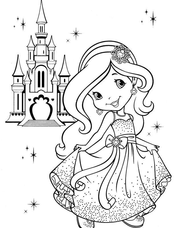 Coloriage de charlotte aux fraises dessin princesse charlotte devant son chateau colorier - Coloriage chateau de princesse ...