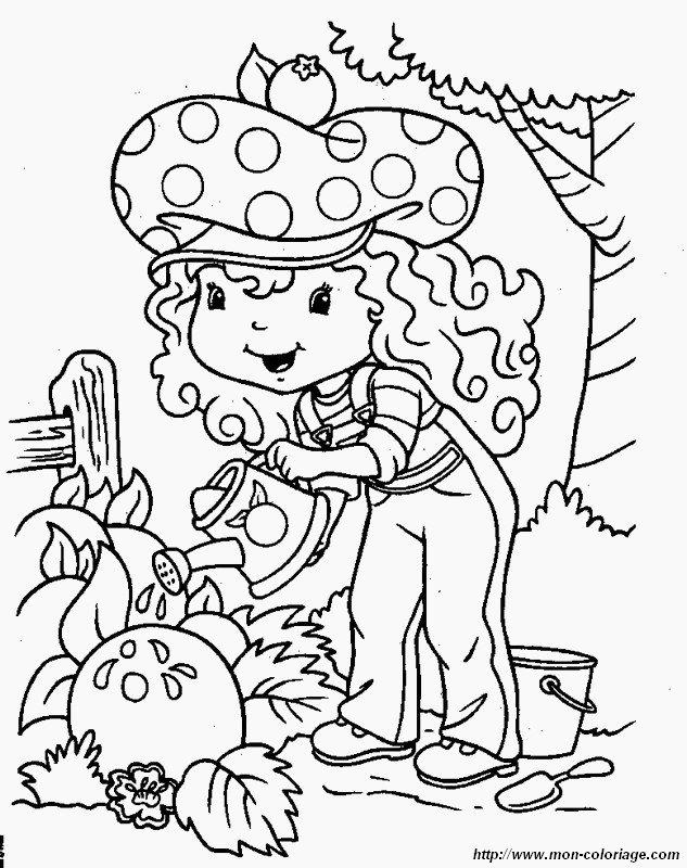 Coloriage de charlotte aux fraises dessin elle arrose son - Dessin de potager ...
