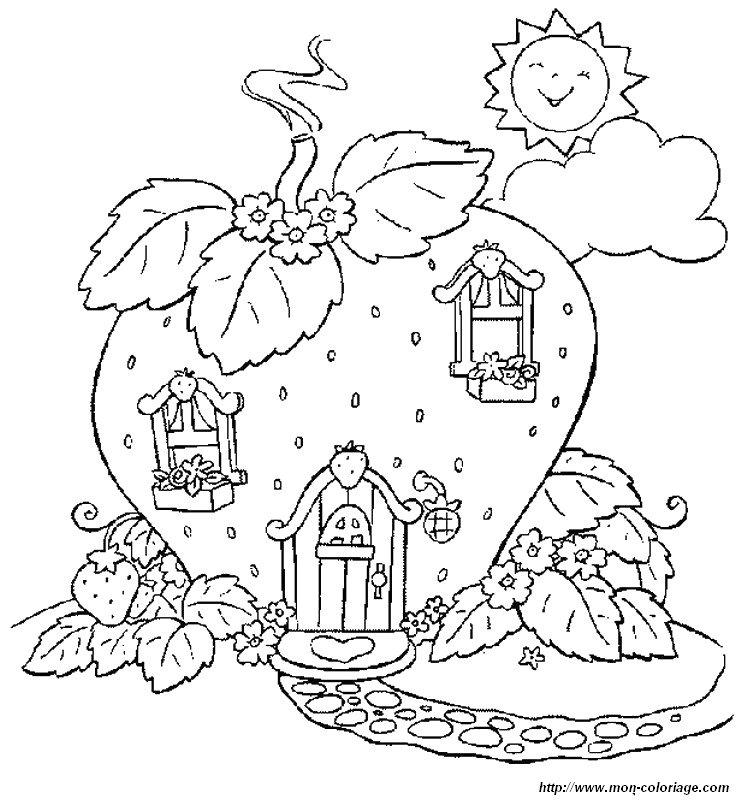 Coloriage de charlotte aux fraises dessin la maison de for Maison de charlotte aux fraises