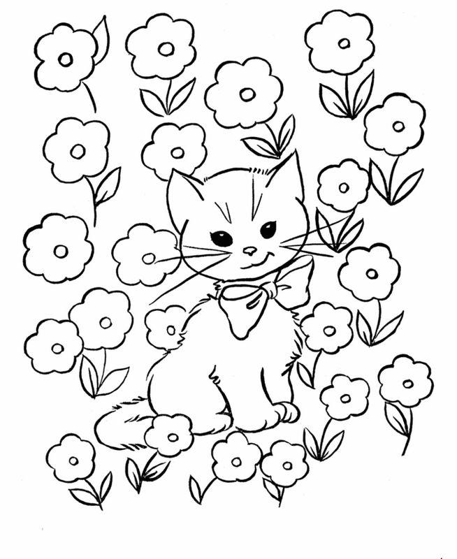 Coloriage Chat Avec Des Fleurs.Coloriage De Chat Dessin Combien Il Y A De Fleurs Avec Ce Chat A