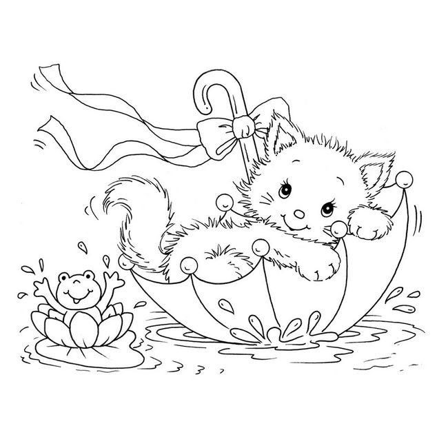 Coloriage de chat dessin un chaton dans un parapluie colorier - Chaton coloriage ...
