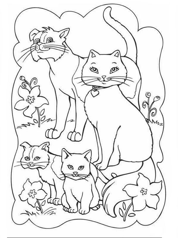 Coloriage Famille Animaux.Coloriage De Chat Dessin Une Charmante Famille De Chats A Colorier