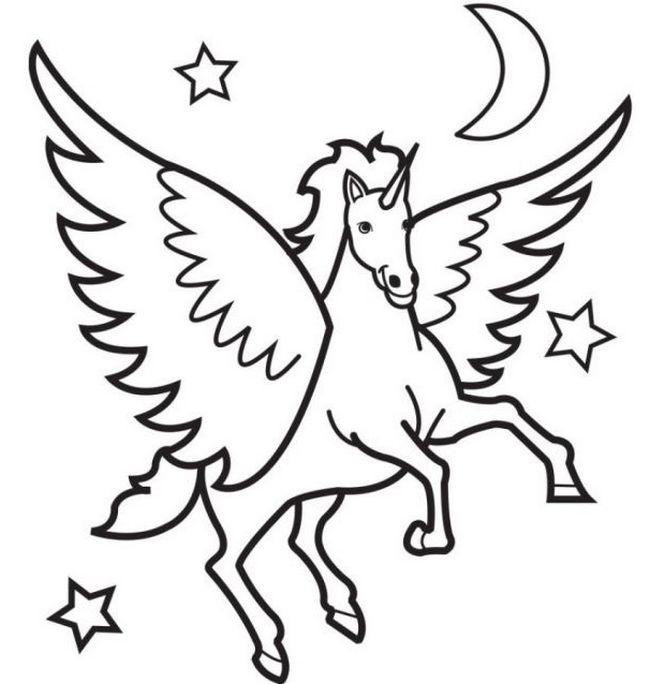 Coloriage de cheval dessin cheval avec des ailes dans le - Dessin de coeur avec des ailes ...