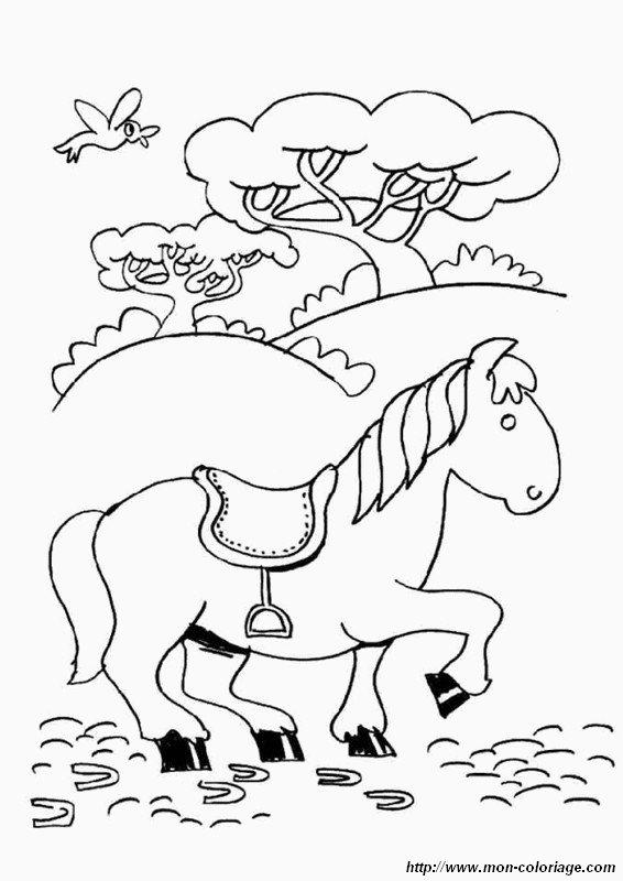 Kleurplaat Paardrn Coloriage De Cheval Dessin Dans Un Champ Avec Un Oiseau 224