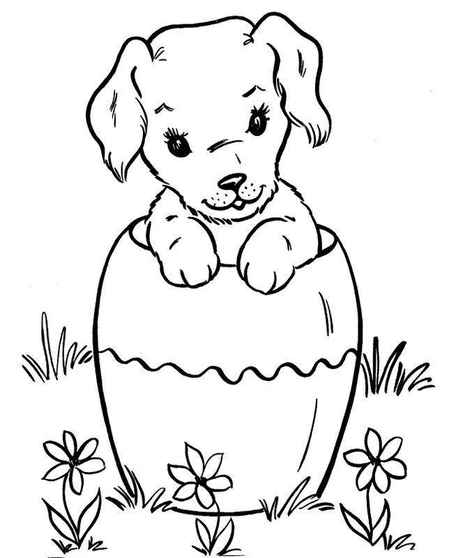 Coloriage de chien dessin petit chien pour paques colorier - Dessin de paques facile ...