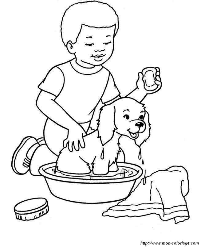 Coloriage de Chien, dessin il aime prendre son bain à colorier