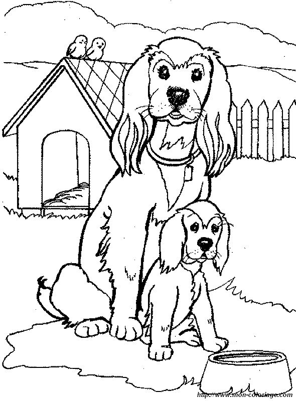 Coloriage de chien dessin maman cocker et son petit - Dessin de cocker ...