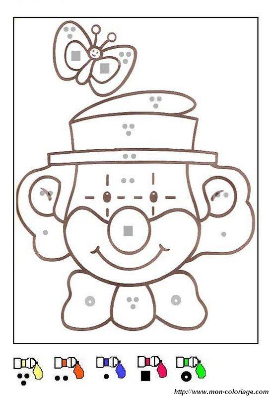 Coloriage de coloriages magiques dessin une tete de clown - Tete de clown a imprimer ...