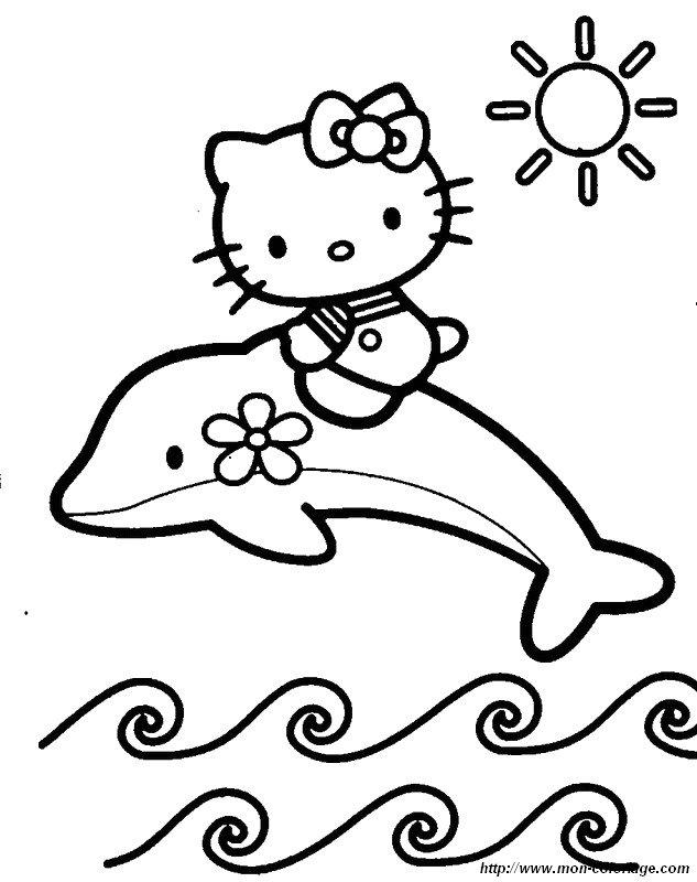 Coloriage Cheval Et Dauphin.Coloriage De Dauphins Dessin Hello Kitty A Cheval Sur Un