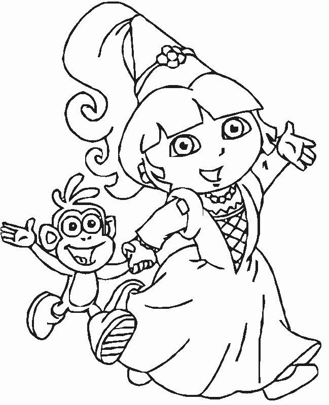 Coloriage de Dora l'exploratrice, dessin Dora marche avec Babouche à colorier