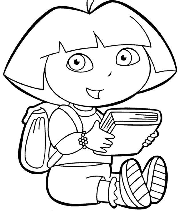 Coloriage de Dora l'exploratrice, dessin Dora va lire un livre à colorier