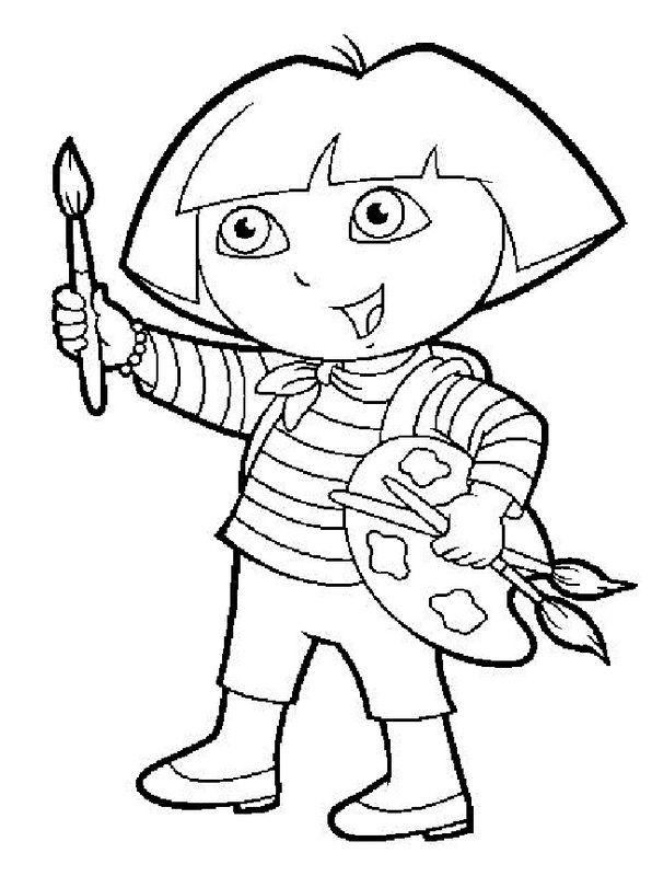 Coloriage de Dora l'exploratrice, dessin Elle aime peindre des paysages à colorier