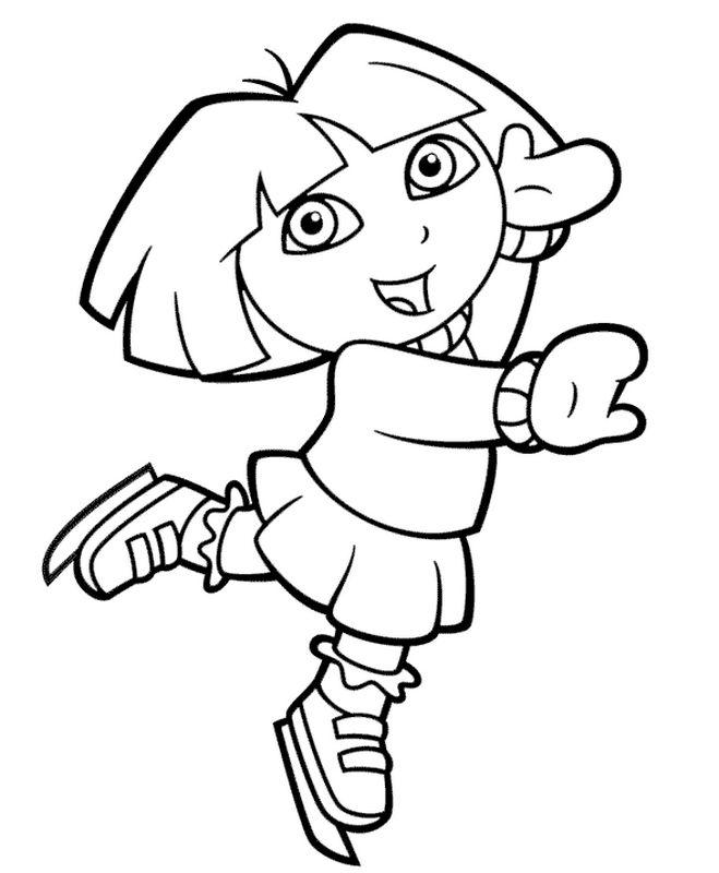 Coloriage de dora l 39 exploratrice dessin elle fait du patinage artistique colorier - Personnage dora ...