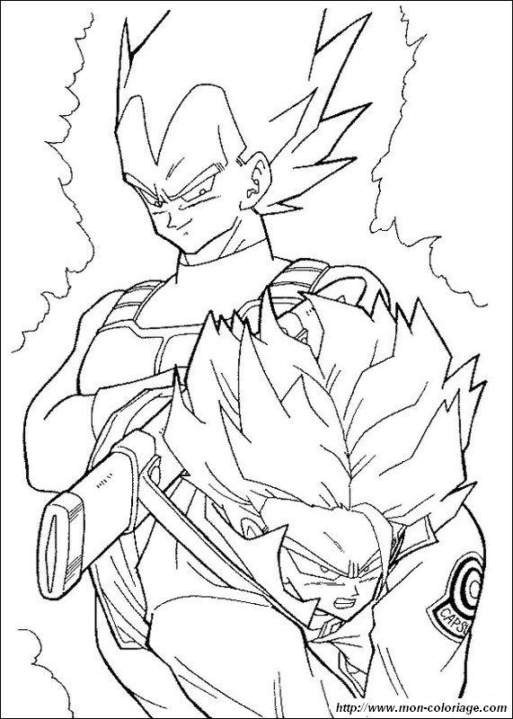 Coloriage De Manga Dragon Ball Z Dessin Vegeta Et Trunks En