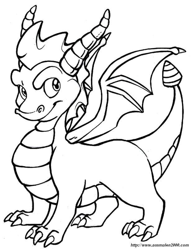 Coloriage de Dragon, dessin Ce petit dragon est fier et ...