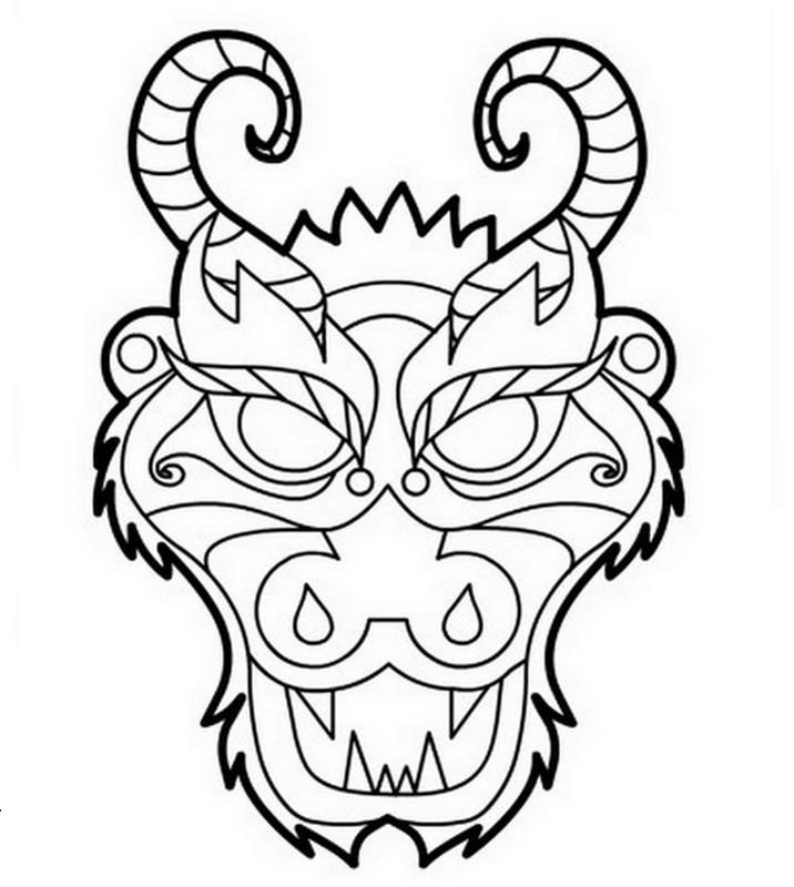 Coloriage De Dragon Dessin Un Masque Dragon Colorier