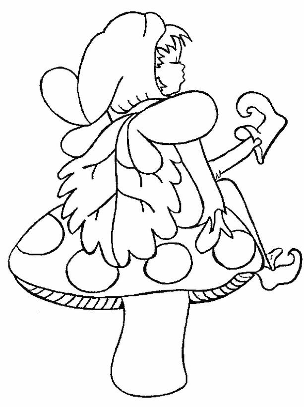 Coloriage de Elfe, dessin Elf assis sur un champignon à ...