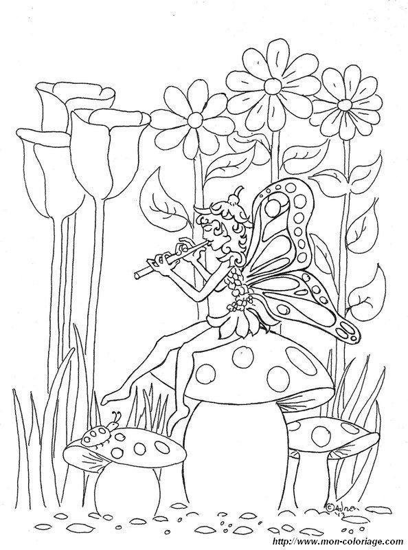 coloriage de fée dessin joue de la musique sur un