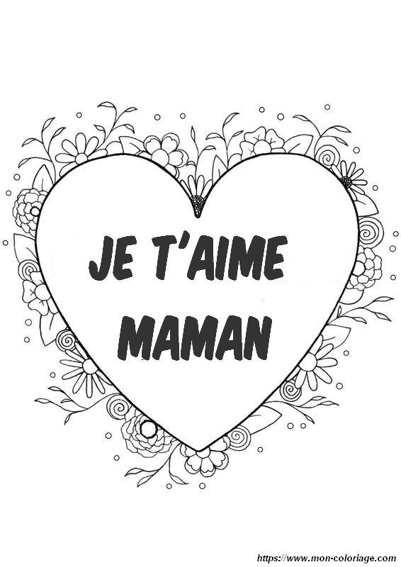 Coloriage De Fête Des Mères Dessin Joli Coeur Pour Maman à