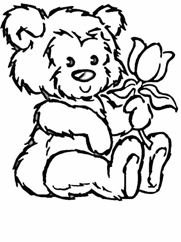coloriage de fleur, dessin ourson avec une jolie rose à colorier