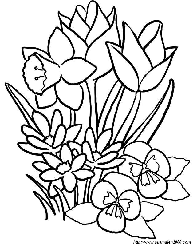 Coloriage de Fleur, dessin Un bouquet pour maman à colorier