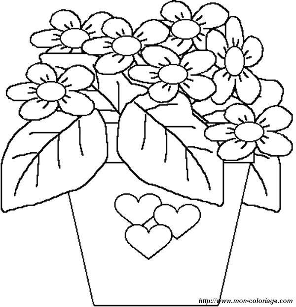 Coloriage Fleur Et Coeur.Coloriage De Fleur Dessin Coloriage Fete Des Meres Fleur Coeur A