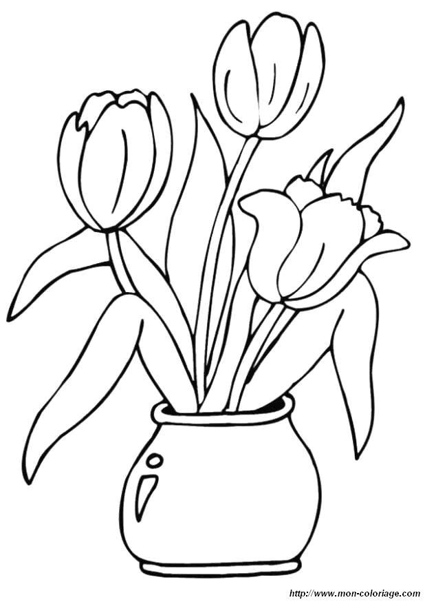 Coloriage de fleur dessin coloriage fleur tulipes jpg - Dessiner un vase ...