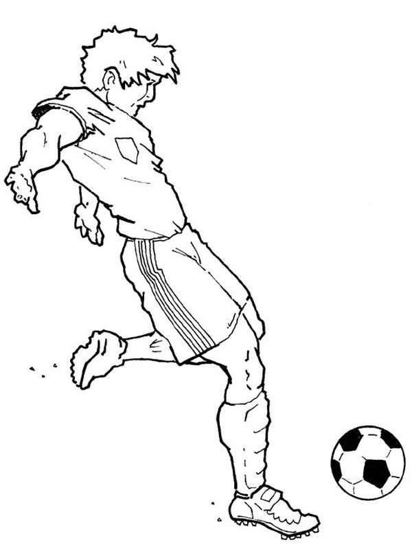 Coloriage de football dessin joueur de football qui tire - Giocatori di calcio da colorare le pagine da colorare ...