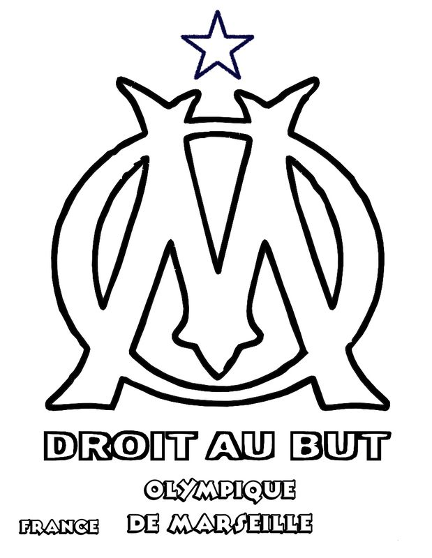 Coloriage de football dessin olympique de marseille om - Marseille logo foot ...