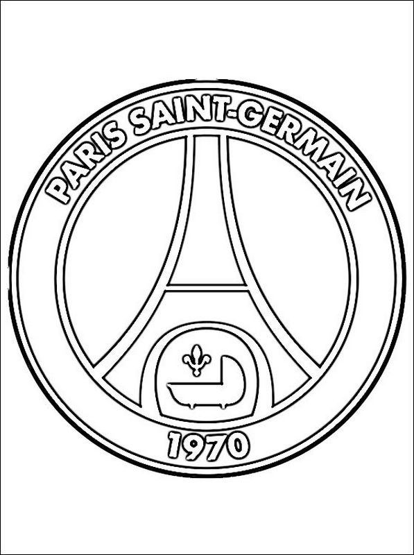 Coloriage de Football, dessin Paris Saint Germain à colorier