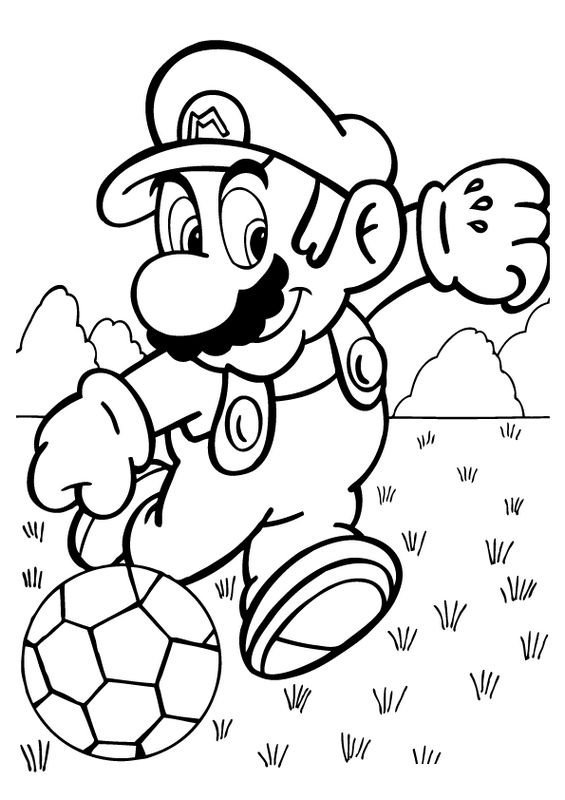 Coloriage de football dessin super mario en joueur de for Disegni da colorare di mario
