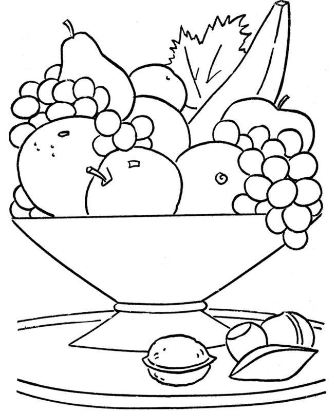 Coloriage De Fruits Dessin La Corbeille De Fruits De Saison à Colorier