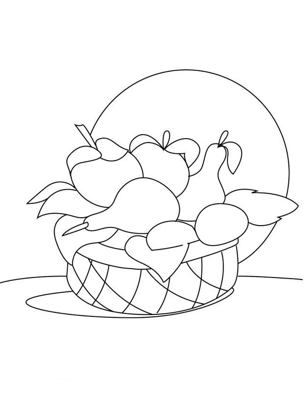 Coloriage de fruits dessin un magnifique panier de fruits - Dessiner un fruit ...