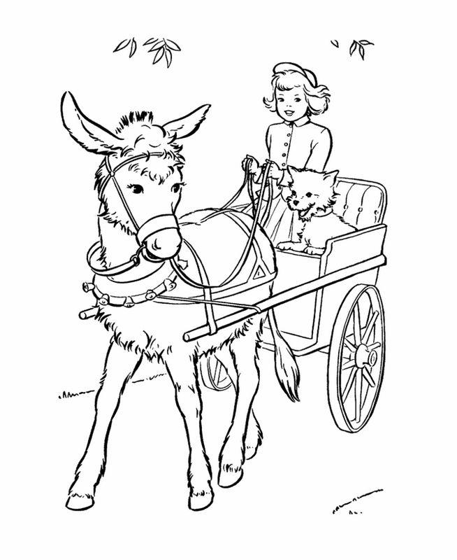 Coloriage de heidi dessin elle conduit une charette avec - Charrette dessin ...