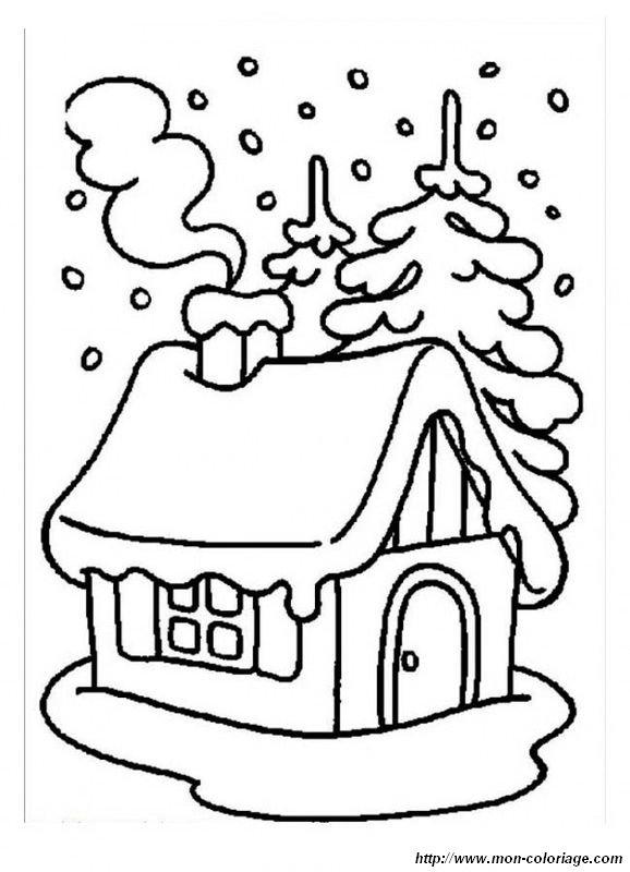 Coloriage de Hiver, dessin Une petite maison sous la neige à colorier
