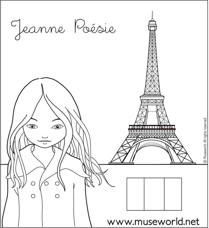 Coloriage de jeanne po sie dessin jeanne poesie 1 colorier - Dessin tour eiffel a imprimer ...