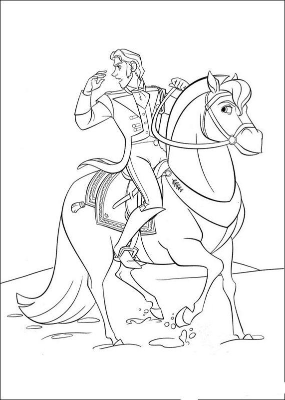 coloriage de la reine des neiges dessin le prince sur son cheval colorier. Black Bedroom Furniture Sets. Home Design Ideas