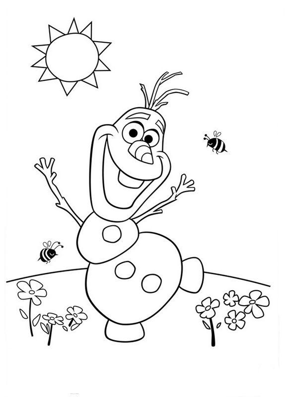 Coloriage de la reine des neiges dessin olaf profite du - Coloriage olaf ...