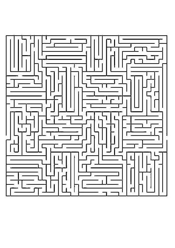Coloriage de Jeux de labyrinthe, dessin Jeu assez complexe pour adultes à colorier