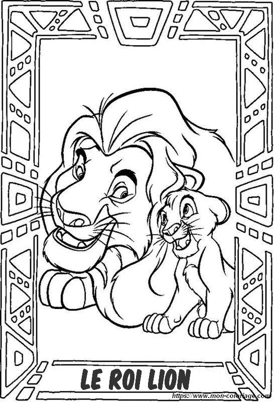 Coloriage De Le Roi Lion Dessin Mufasa Et Simba Du Roi Lion A Colorier